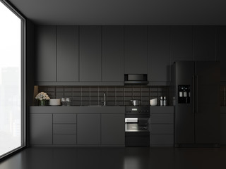 Minimal style black kitchen 3d render.There are white floor and wall, Glossy white cabinet doors,Black refrigerator and oven,The room has large windows. lookink out to the city view.