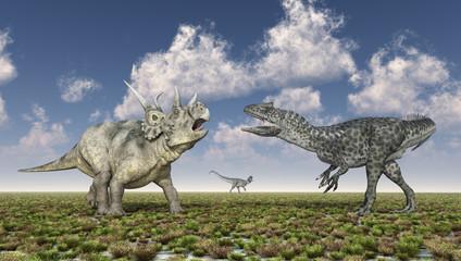 Diabloceratops und Allosaurus in einer Landschaft