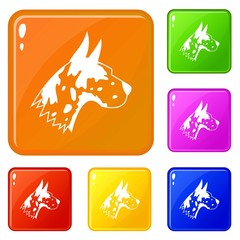 Great dane dog icons set collection vector 6 color isolated on white background