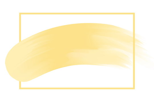 line frame and brush painted yellow watercolor background pastel soft, art paint brush texture yellow gold acrylic stroke square frame, water color frame for headline logo sale banner fashionable