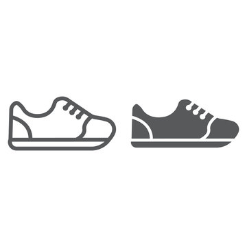 Sneakers line and glyph icon, footwear and fashion, sport shoes sign, vector graphics, a linear pattern on a white background.