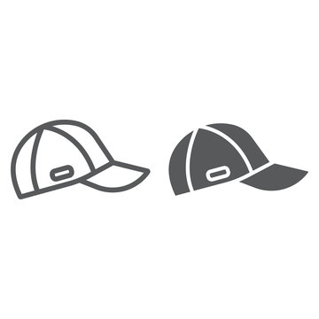 Cap line and glyph icon, clothes and accessory, sport hat sign, vector graphics, a linear pattern on a white background.