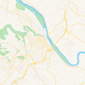 Empty vector map of Lynchburg, Virginia, USA