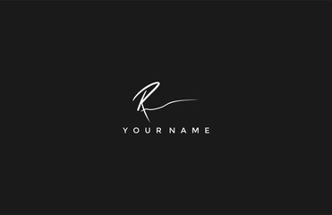 Calligraphy Signature Initial Letter R Logotype