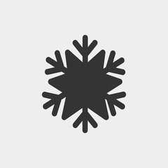 Snowflake vector icon solid grey