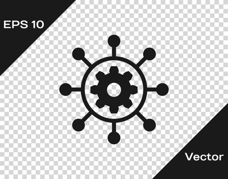 Grey Project management icon isolated on transparent background. Hub and spokes and gear solid icon. Vector Illustration