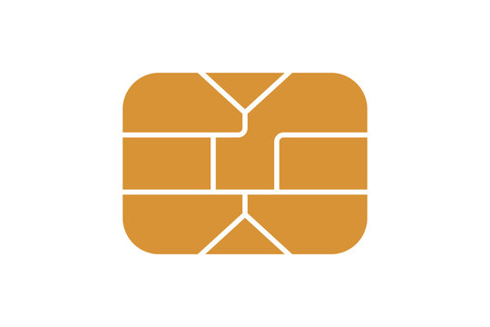 EMV chip icon for bank plastic credit or debit charge card. Vector illustration
