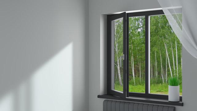 Black plastic window in the room