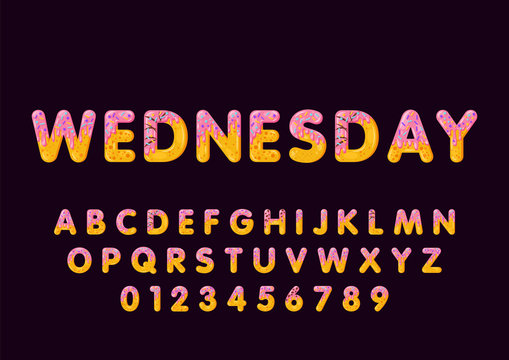 Donut cartoon wednesday biscuit bold font style