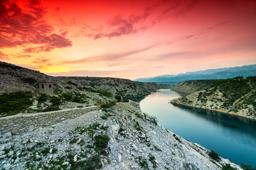 Colorful Dramatic Sunset Over the River And Mountains In Dalmatia, Croatia