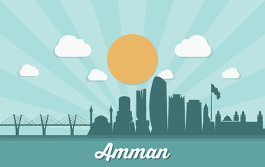 Fototapete - Amman skyline - Jordan - vector illustration - Vector