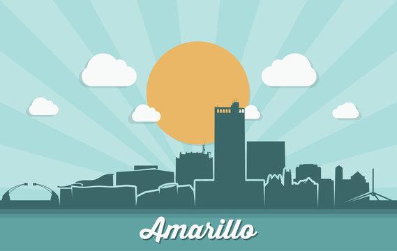 Amarillo skyline - Texas, United States of America, USA - vector illustration - Vector