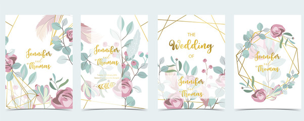 Wall Mural - Geometry pink green gold wedding invitation card with rose,leaf,wreath,feather and frame