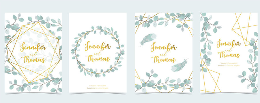 Geometry green gold wedding invitation card with leaf,wreath,feather and frame