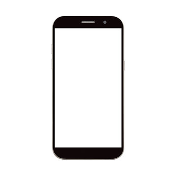 black smart phone with blank screen isolated on white