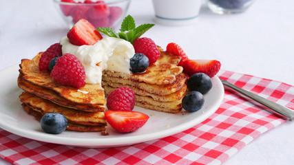 Keto pancakes made of coconut flour or almond flour