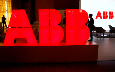 Logo of Swiss power technology and automation group ABB is seen at the Swiss Economic Forum conference in Interlaken
