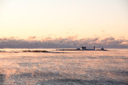 Goat Island Light 2018 winter sea smoke 1