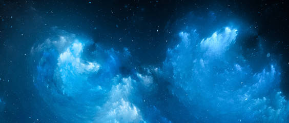 Blue glowing nebula fractal widescreen background
