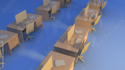 Wall mural table office on blue background business concept 3d render