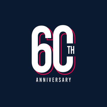 60 Th Anniversary Vector Template Design Illustration