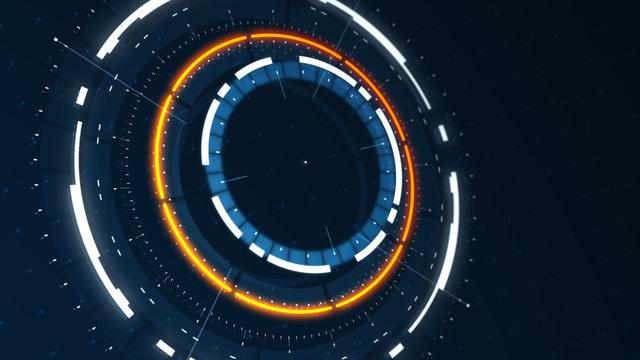 Futuristic conceptual technology background, circular HUD interface hologram, 3d render in high resolution, sci fi and cyberpunk wallpaper