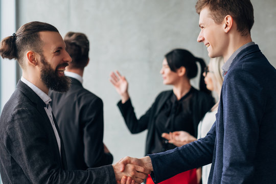 Corporate culture. Business etiquette. Greeting handshake. Partners meeting Professional relationship