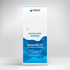 Banner roll-up for water Park, creative concept for presentations and advertising, template for posting photos and text. Modern blue background with sea waves
