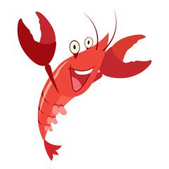 cartoon red lobster taiking, vector