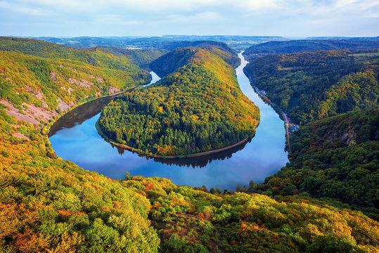 River Saar loop in Mettlach, Saarland, Germany