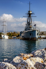 Athens, Attica / Greece. Georgios Averof is a modified Pisa-class armored cruiser built in Italy for the Royal Hellenic Navy (20th century). Now is floating museum in Palaio Faliro