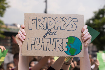 Global strike for planet, students protesting during fridays for future