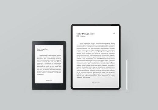 E-Book Reader, Digital Tablet and Digital Pencil Mockup