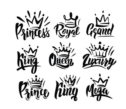 Crown logo with hand text lettering on white
