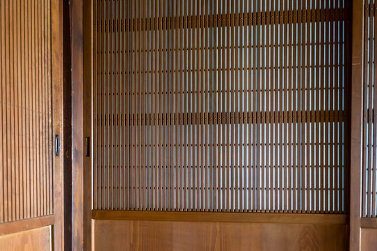 Traditional japanese machiya house or ryokan with brown sliding paper door with nobody architecture
