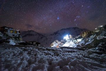 Foto auf Acrylglas Aubergine lila Landscape with Milky way galaxy. Night sky with stars.