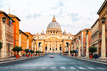 Sunrise over the St. Peters Basilica in Vatican City. Morning at the most famous landmark Wall mural