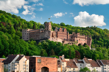 Old town of Heidelberg with the famous castle ruins