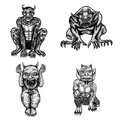 Set of demons, human like monsters creatures chimera with fangs horns, and claws. Mystic and occult hand drawn engraved devil vector.
