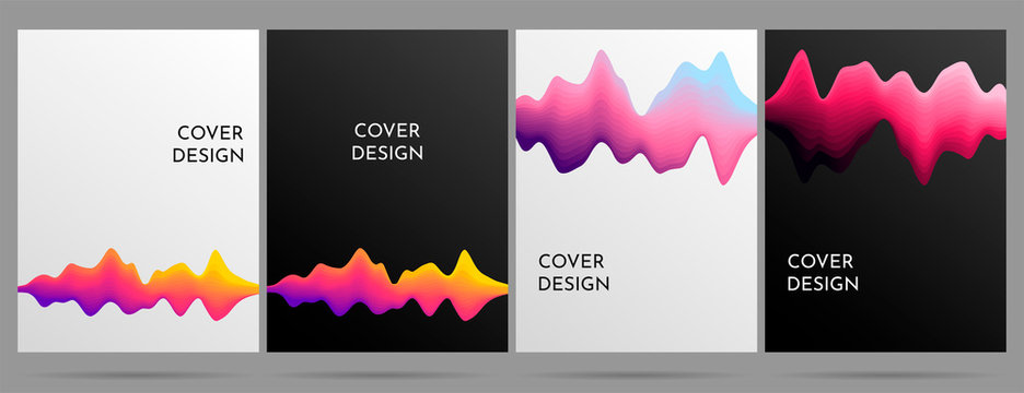 Motion sound wave abstract vector background. Gradient lines