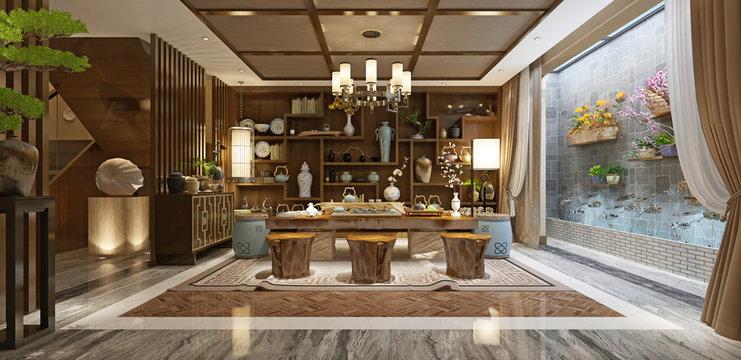 3d render of japan style living room