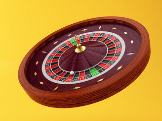 3d Casino roulette wheel. Gambling games.