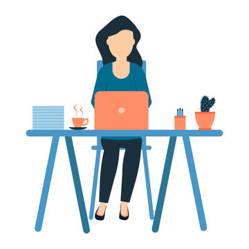 A young girl sits at the workplace, freelance designer, full-time office employee, cactus and a cup of coffee on the table, woman professional vector illustration