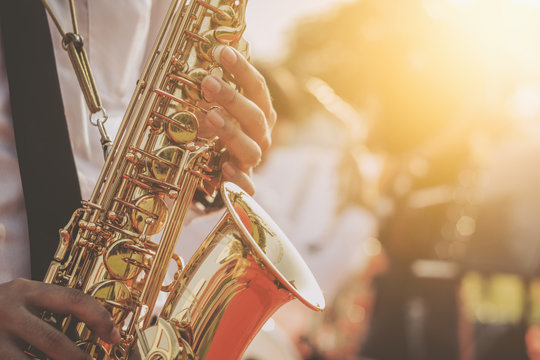 jazz musician playing the saxophone Beautiful voice .Jazz mood Concept
