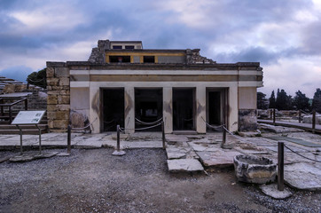 Knossos Palace, Crete / Greece. The Throne Room. The antechamber of a complex of rooms that is named the Throne Room. Its name comes from the alabaster seat found in the room behind