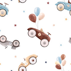 Watercolor baby car vector pattern