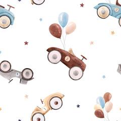 Modèle de vecteur de voiture bébé aquarelle