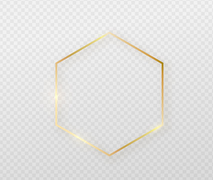 Golden border frame with light shadow and light affects. Gold decoration in minimal style. Graphic metal foil element in geometric thin line polygon, hexagon shape