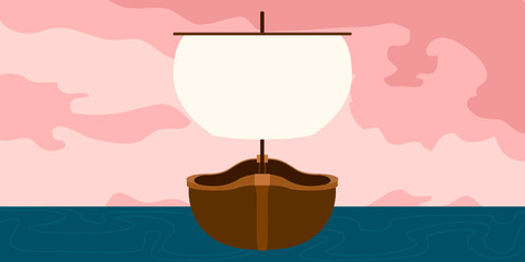 Front view of a pirate ship in a landscape - Vector