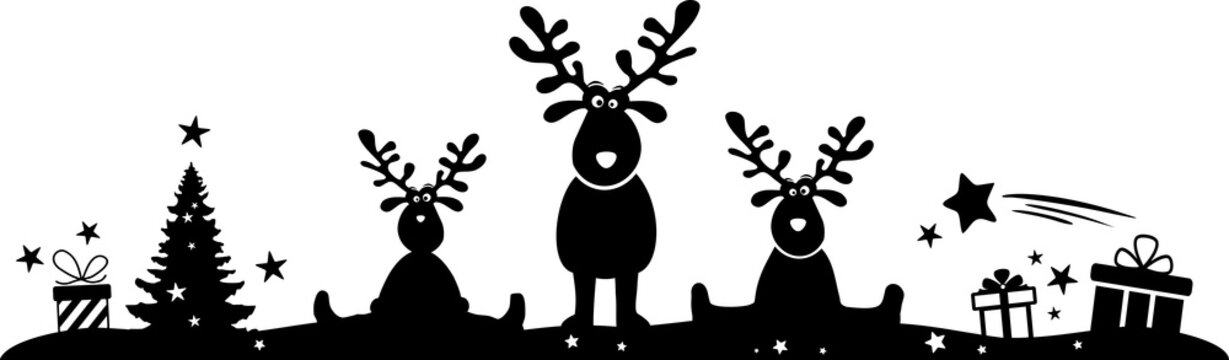 Christmas Silhouette Vector Moose and Gifts